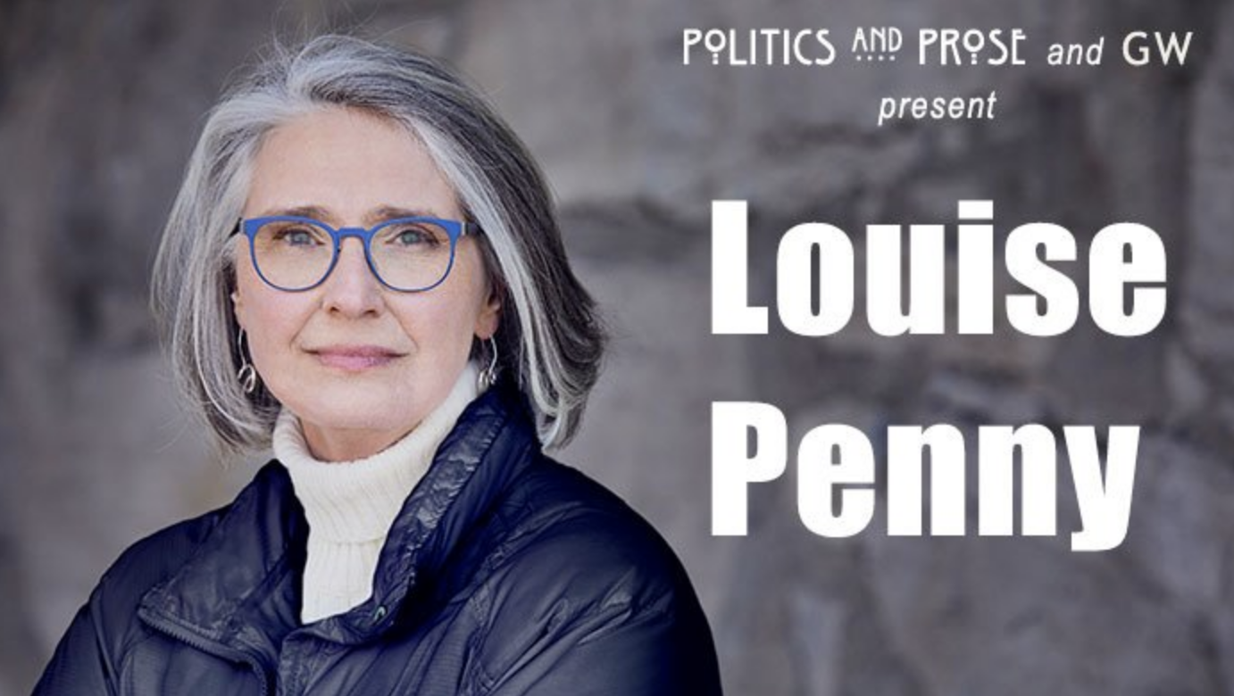 Author Louise Penny in turtleneck and glasses
