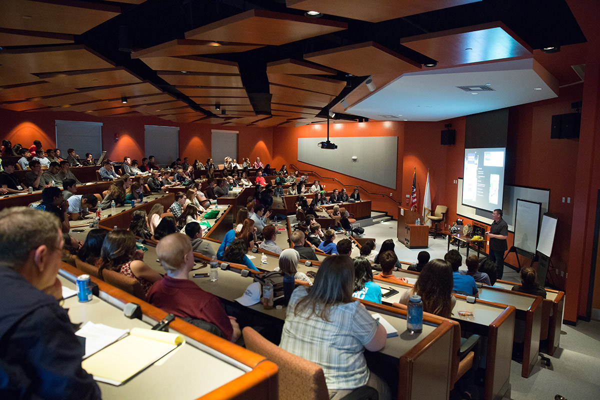 a large amphitheater room on the virginia science and technology campus