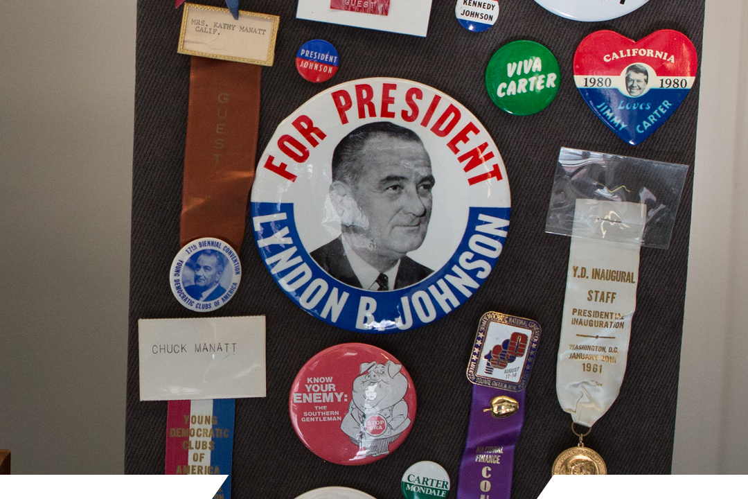 a presidential button from lyndon johnson's campaign