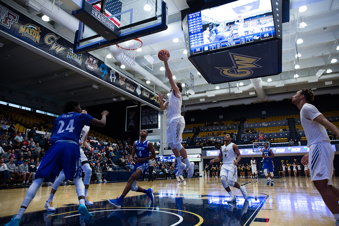 GW men's basketball playing at home