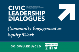 Text reads Community Engagement as Equity Work with Civic Leadership Logo