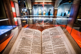 Bible in display case at Museum of the Bible in DC