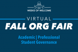 Virtual Fall Org Fair, Categories: Academic & Professional, Student Governance