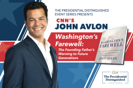 Photo of John Avlon with red, white and blue background