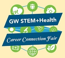 promotional image for GW STEM and Health Career Connection Fair