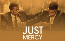 "Michael B. Jordan and Jamie Foxx with text ""Just Mercy"""