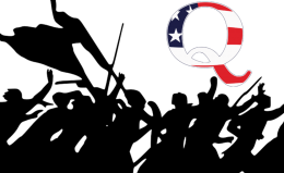 Mob silhouette underneath QAnon icon
