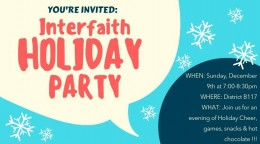 Interfaith Holiday Party on December 9th in District B117 at 7:00pm