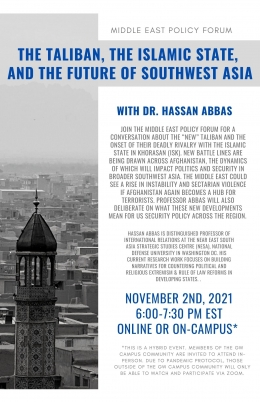 Flyer for The Taliban, The Islamic State, and the Future of Southwest Asia