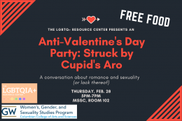 Anti-Valentine's Day Party graphic with date, time, and location information.