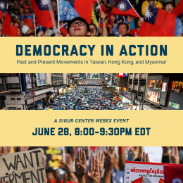 Graphic that says Democracy in Action with pictures of past protests in Taiwan, Hong Kong, and Myanmar