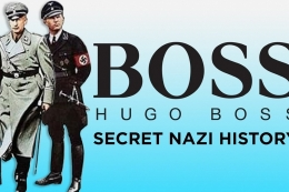 """Photo with the Hugo Boss logo and text that says """"SECRET NAZI HISTORY"""" with a Nazi and a soldier pictured"""