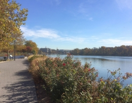 View of the waterfront trail along the Potomac river.