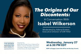 A Conversation with Isabel Wilkerson on January 27, 2021 at 6:30pm