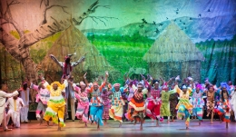 West African dancers of Kan Kouran (in bright costumes)