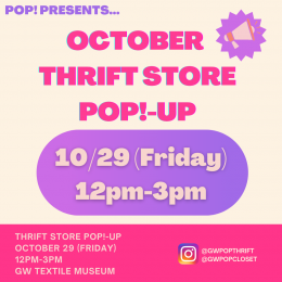 October Thrift Store POP!-up on 10/29 (Friday) from 12pm-3pm at the GW Textile Museum