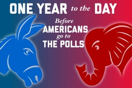 Elephant and Donkey facing each other representing Republicans and democrats