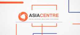 Words Asia Centre with vector lines surrounding