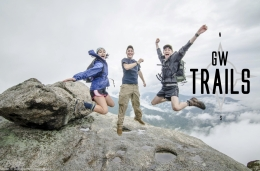 GW trails; students on top of a mountain