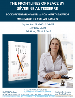 Pictured: Event information listed elsewhere on this page and photos of Dr. Autesserre and her book.