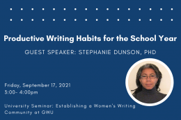 The Women's Writing Community at GW is holding a workshop centered around creating productive writing habits for the school year