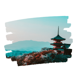 Image of Japanese pagoda with mountains and scenery in background