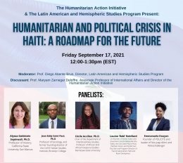 EVENT Flyer- Humanitarian and Political Crisis with panelists photos