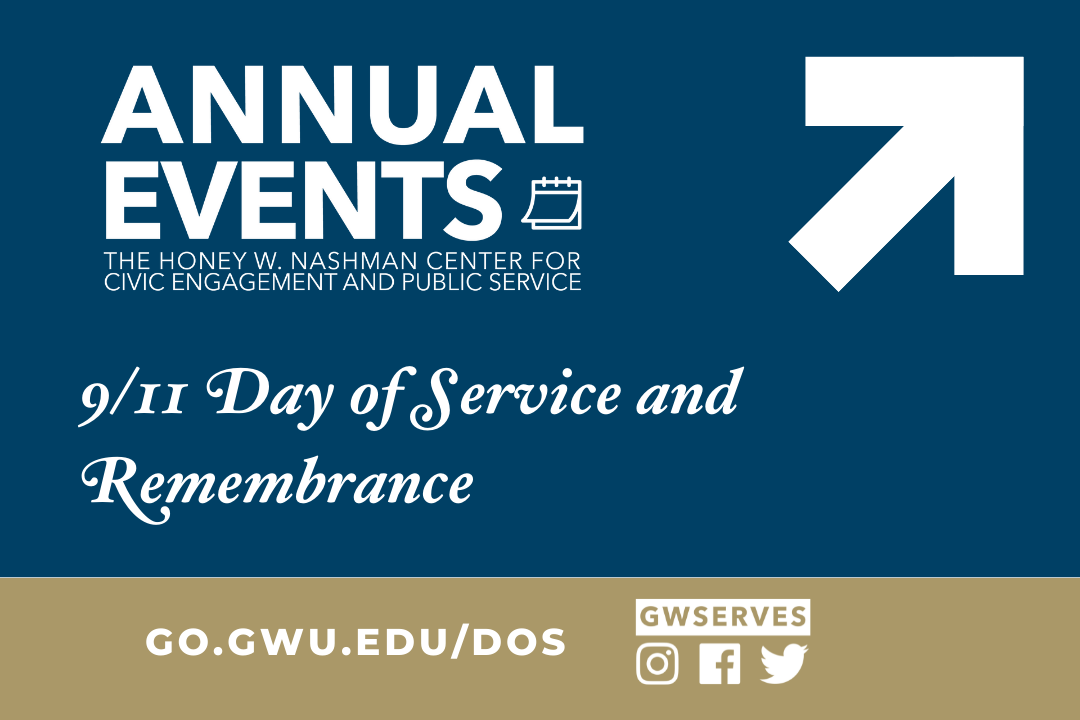 Text with arrow that reads annual events 9-11 day of service and remembrance