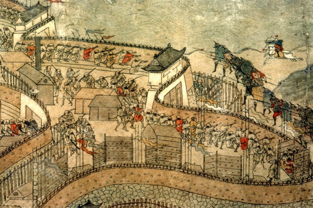 Painting from event topic's era: battle at a city wall