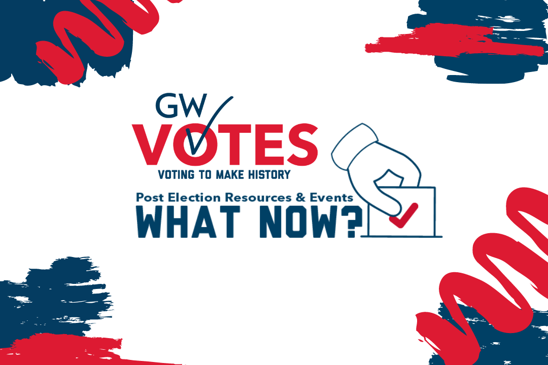 GW Votes logo with text that reads You Voted What Now and Hand dropping ballot in ballot box