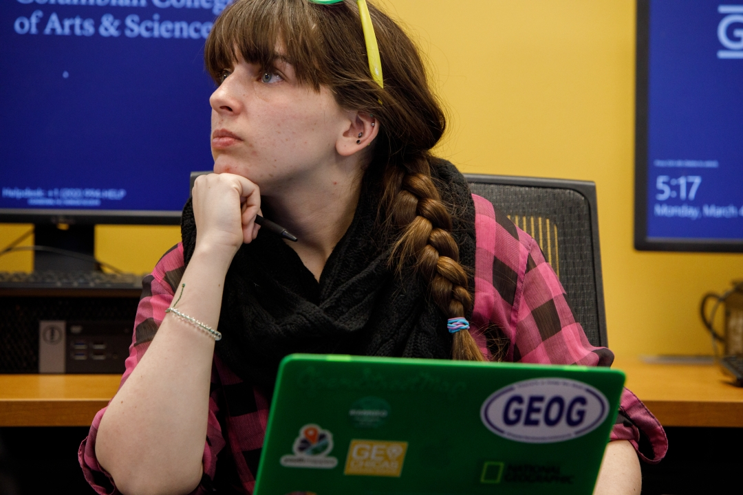 Student paying attention in a GIS class