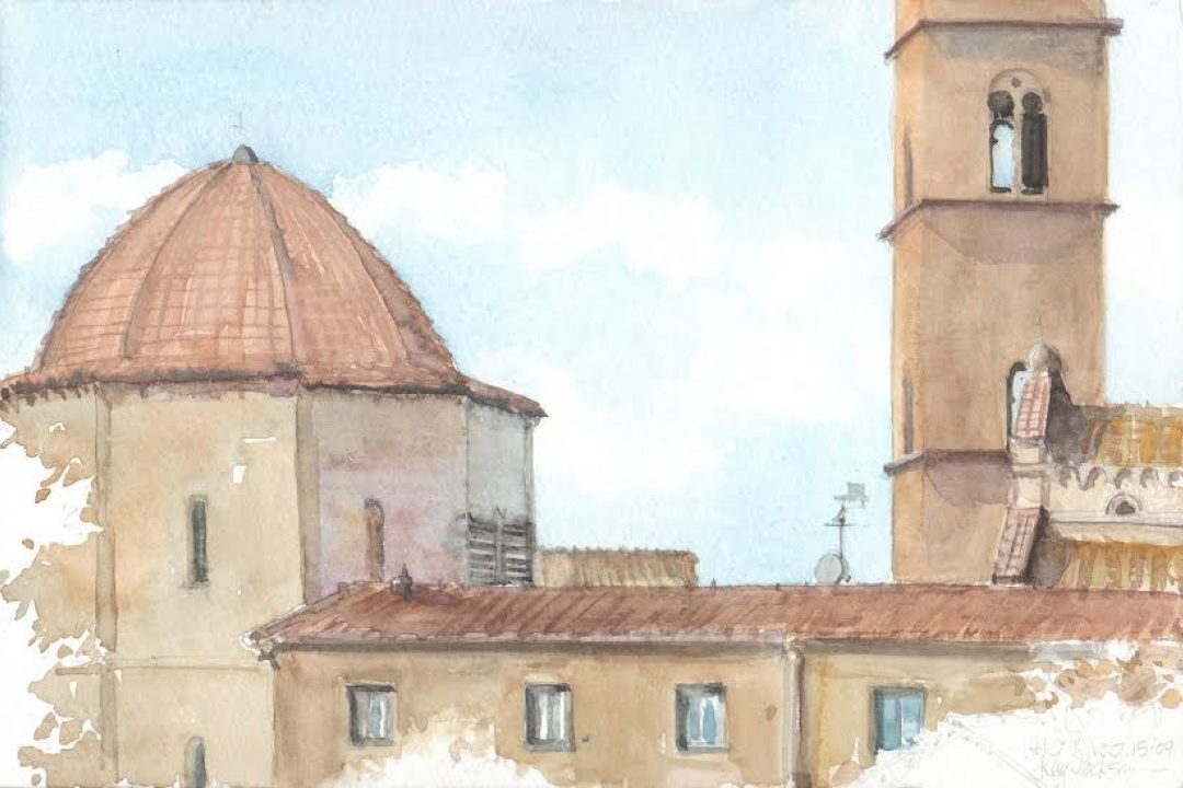 Painting of a building in Italy