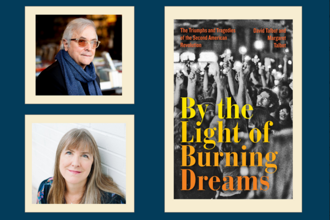 photos of David and Margaret Talbot and the cover of by the light of burning dreams