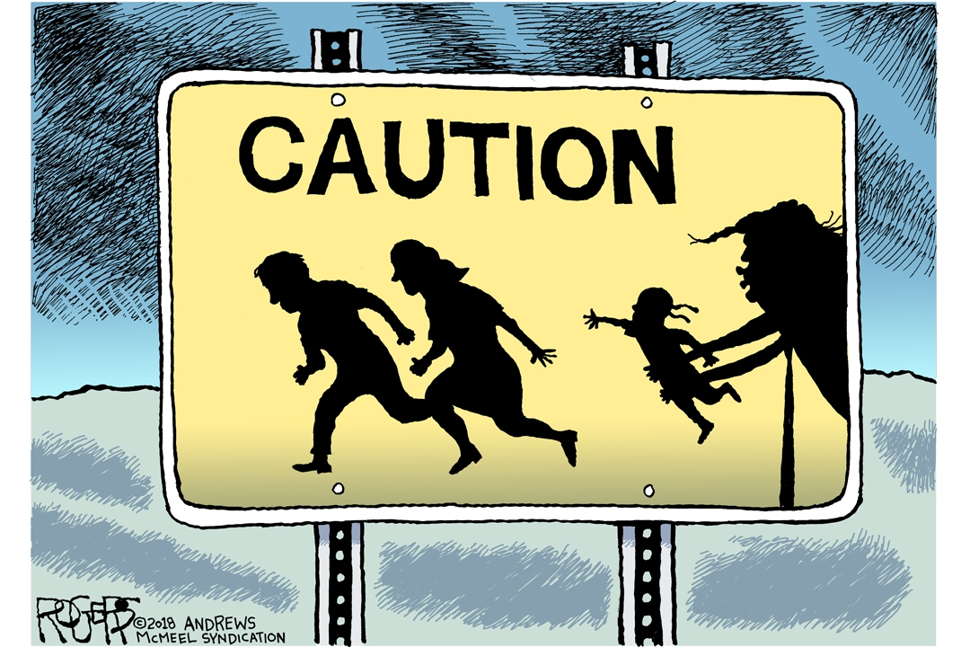 cartoon by Rob Rogers of family running away from, and child being snatched by, Trump-like figure