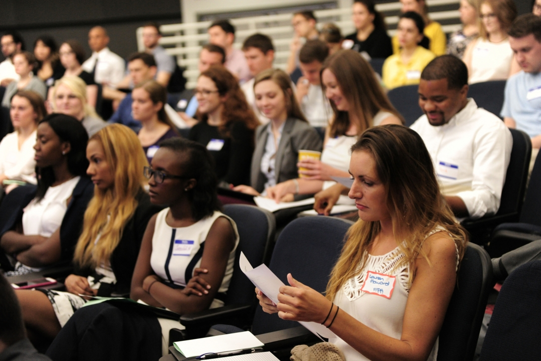 Students sit in a classroom during a Trachtenberg school orientation session.