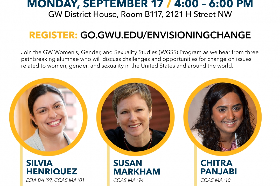 Envisioning change poster featuring pictures of the three speakers