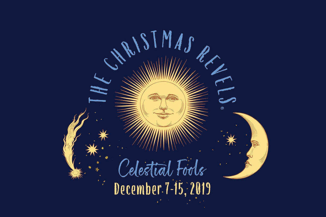 Christmas Revels - Celestial Fools with sun and moon graphic