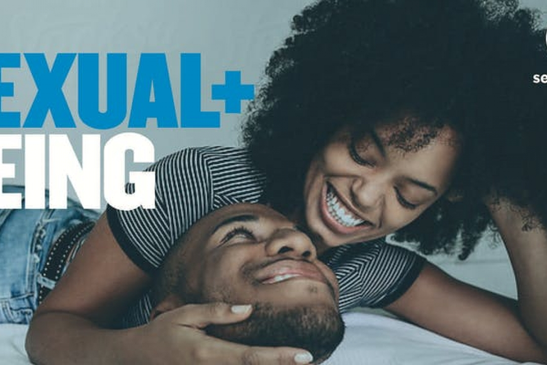 Photo of a man and woman embracing, with the text Sexual + Being