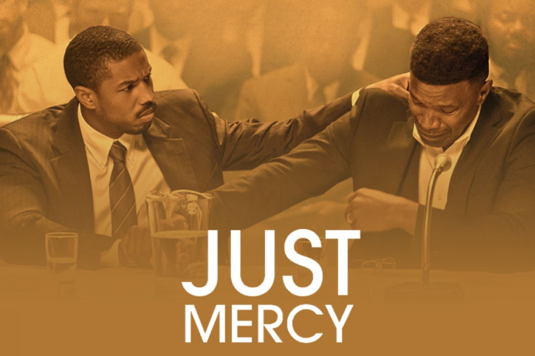"""Michael B. Jordan and Jamie Foxx with text """"Just Mercy"""""""