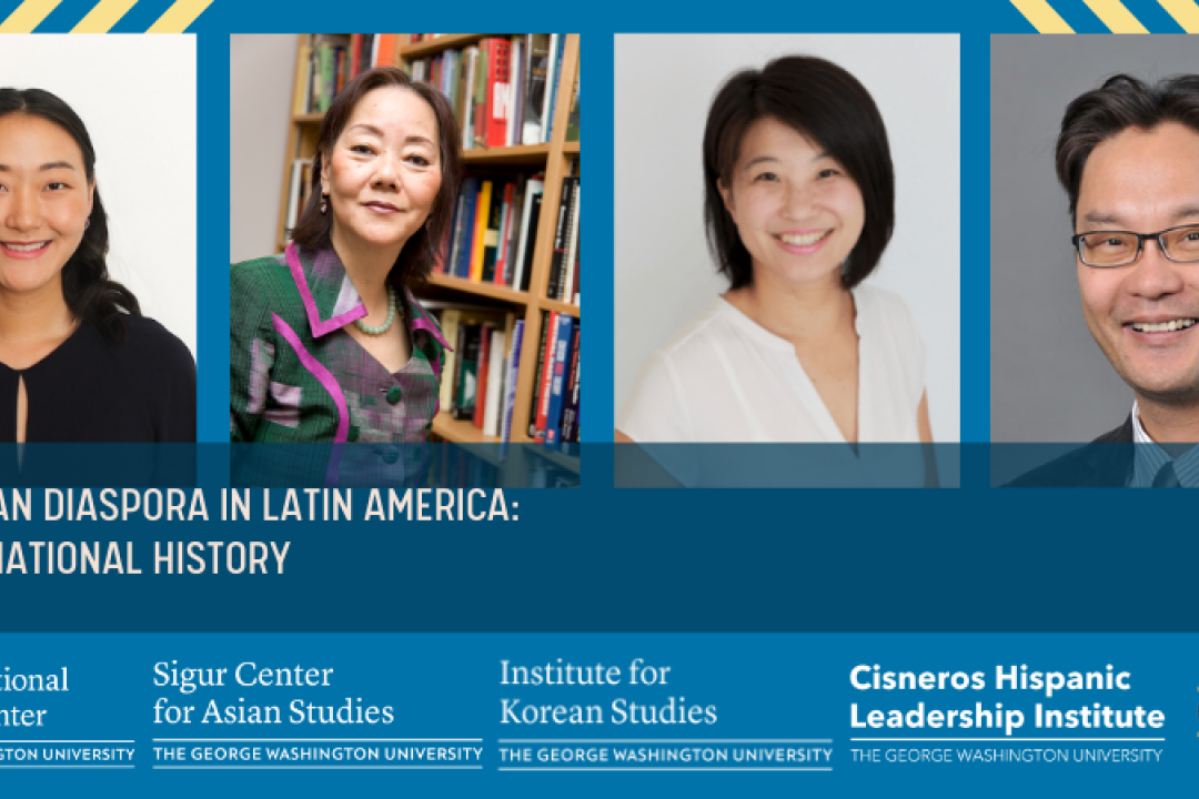 event banner for East Asian Diaspora in Latin America event with speaker headshots