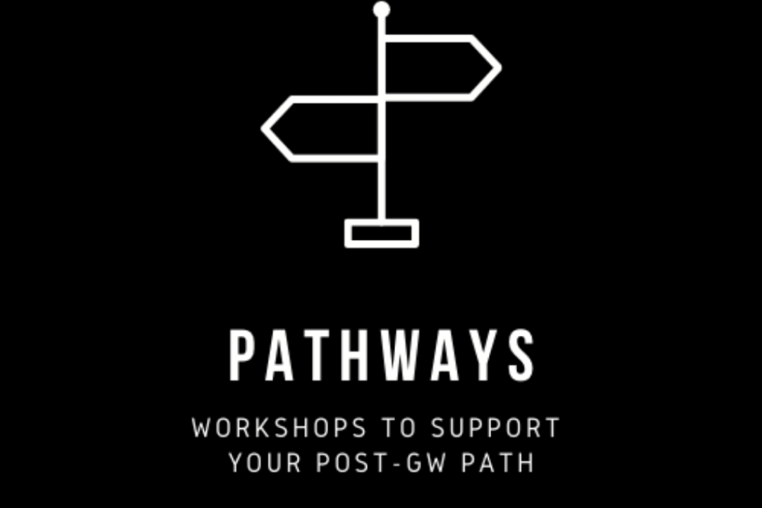 Pathways series flyer with black background and white directional sign graphic
