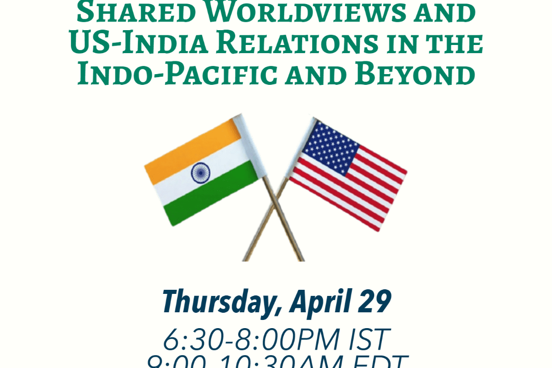 Graphic with event title, time and date, and logos of all co-sponsors, and a photo of Indian and U.S. flags