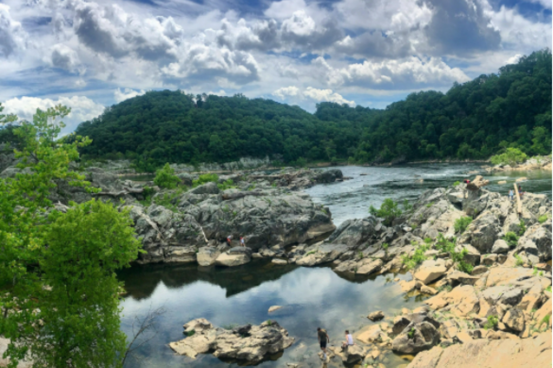 Picture of a river with clouds in the sky and rocks surrounding it