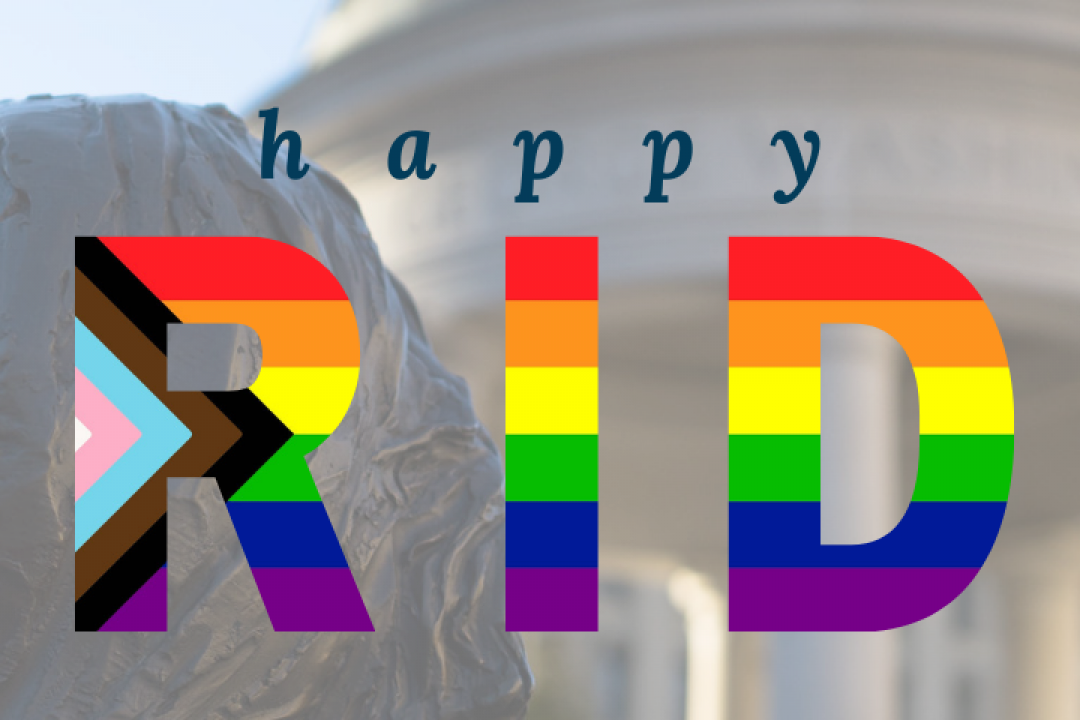 campus photo from Krogan plaza with happy pride text and the word pride is filled in with the rainbow flag